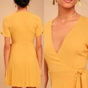 LuLu's My Philosophy Golden Wrap Dress
